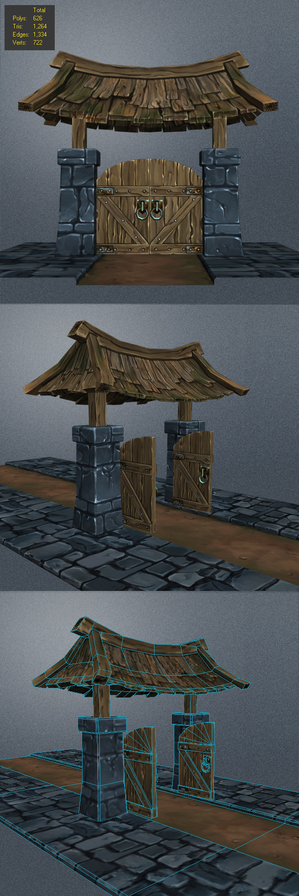 Low Poly wood Door_2 - 3DOcean Item for Sale