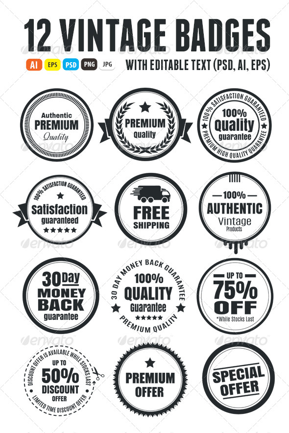 12 Vintage Ecommerce Badges - Badges & Stickers Web Elements