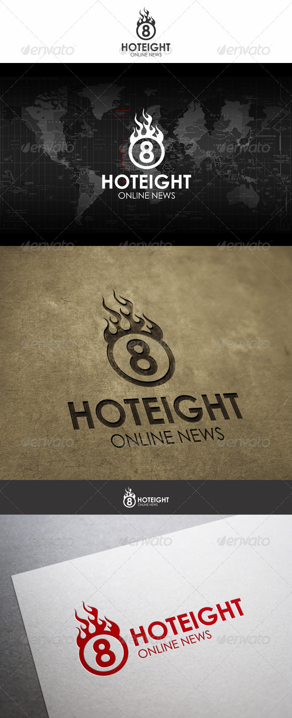 Hot Eight Fireball Logo - Numbers Logo Templates