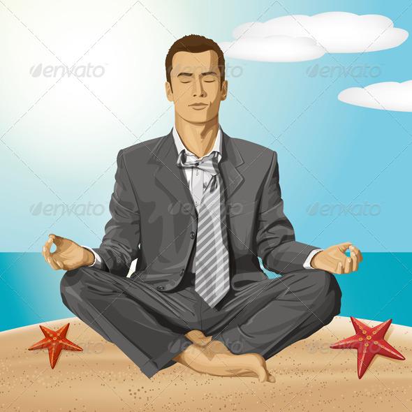 Vector Businessman in Lotus Pose Meditating - People Characters