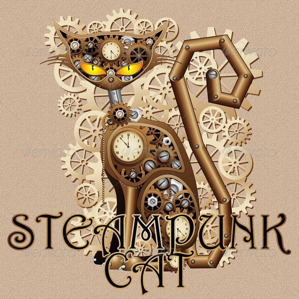 Steampunk Cat Vintage Style - Animals Characters