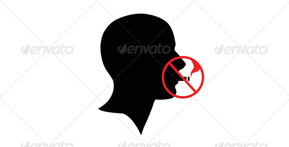 Stop Smoking Head - Health/Medicine Conceptual