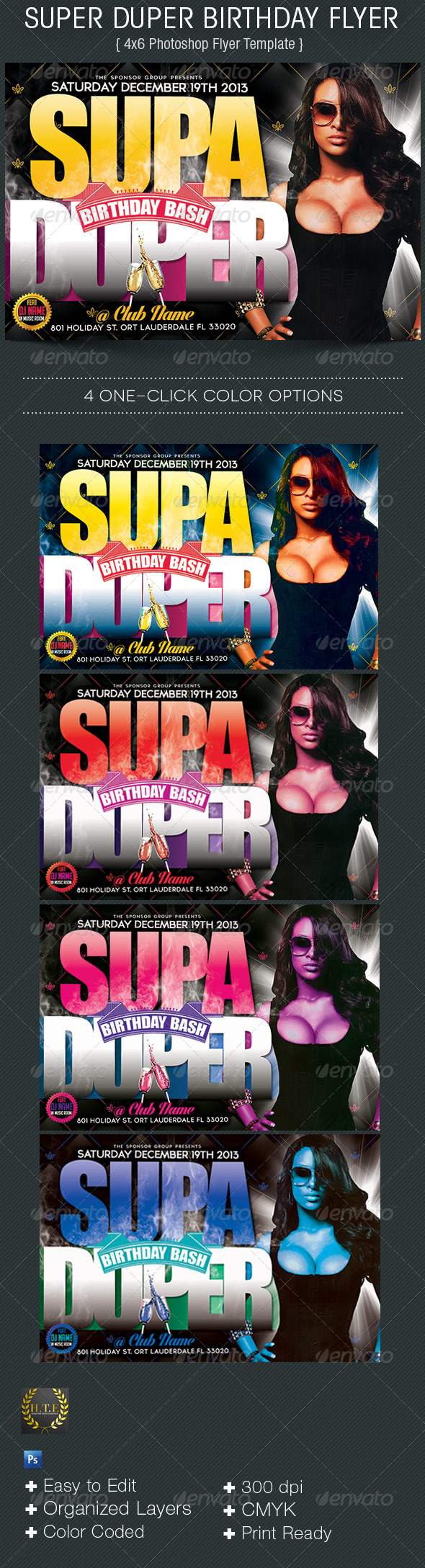 Super Duper Birthday Flyer - Flyers Print Templates