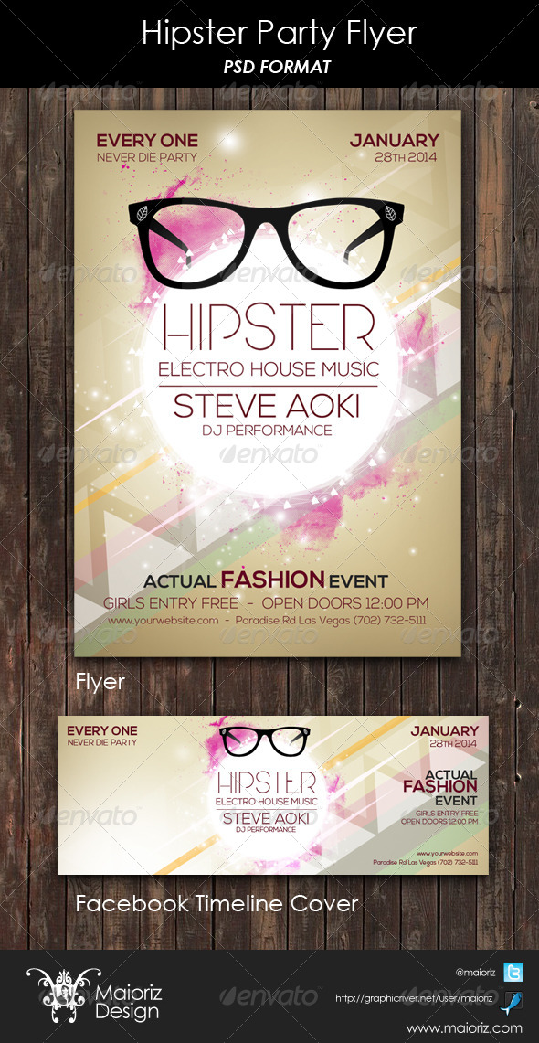 Hipster Party Flyer - Clubs & Parties Events