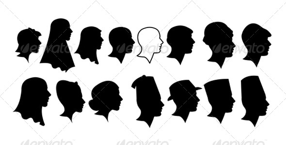 Ladies and Gentlement Silhouette Heads - People Characters