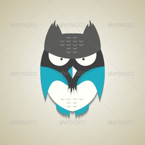 Little Blue and Grey Cartoon Owl - Animals Characters