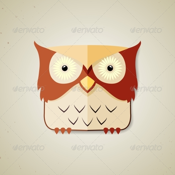 Little Brown and Light Yellow Cartoon Owl - Animals Characters
