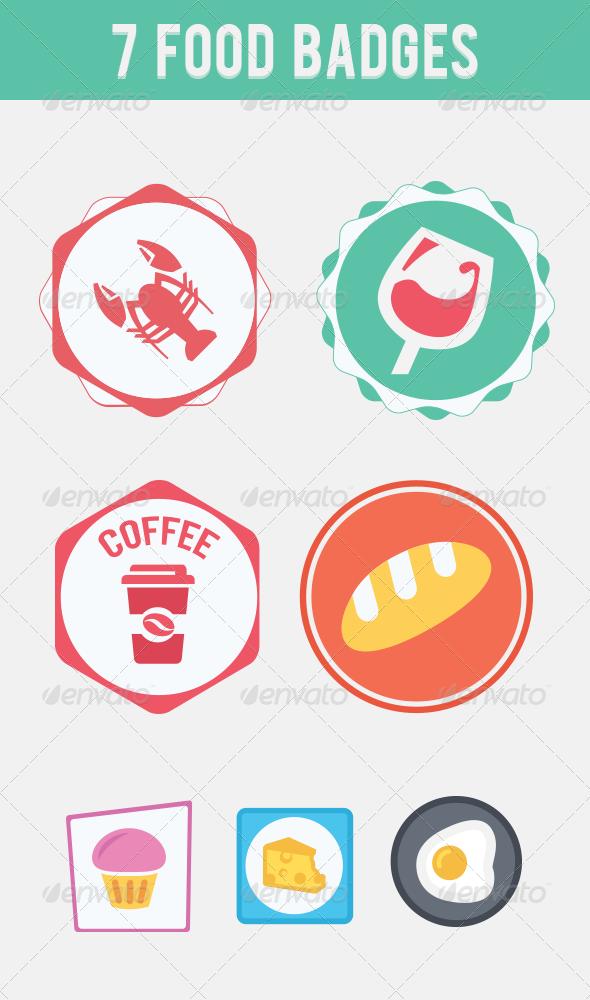7 Food Flat Badges - Badges & Stickers Web Elements