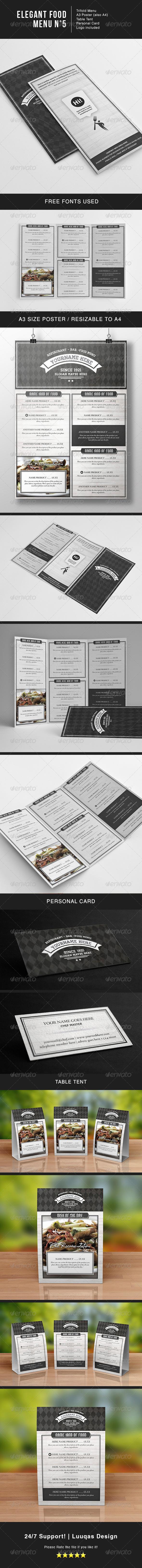Elegant Food Menu 5 - Food Menus Print Templates