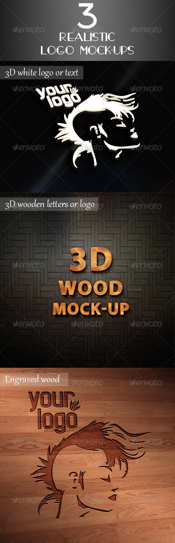 3 Realistic Logo Mock-Up - Logo Product Mock-Ups