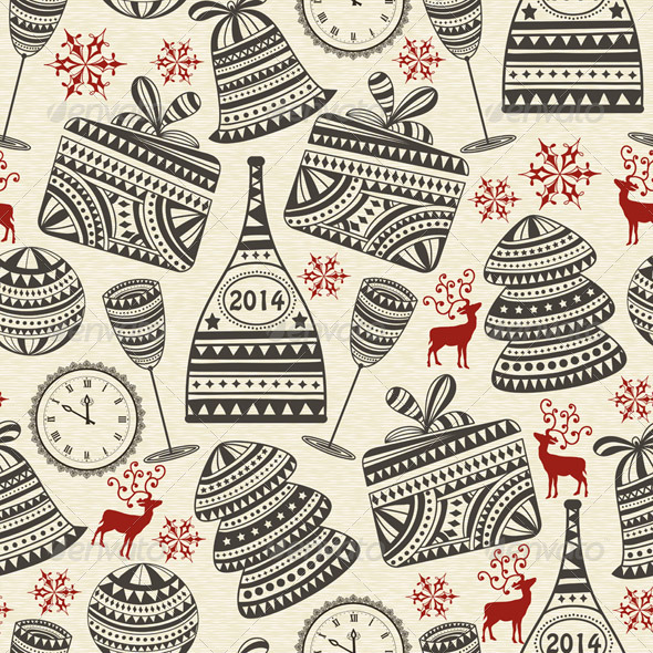 Vector Seamless Holiday Pattern - Patterns Decorative