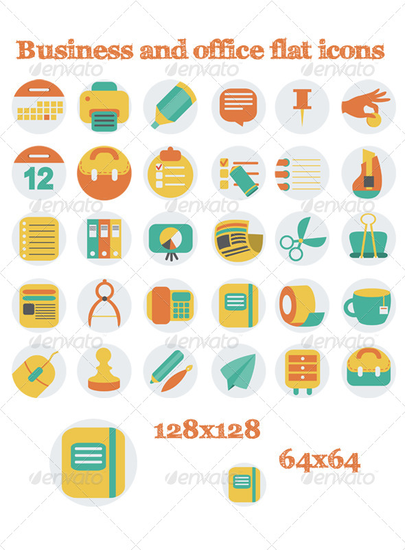 Business And Office Flat Icons - Business Icons