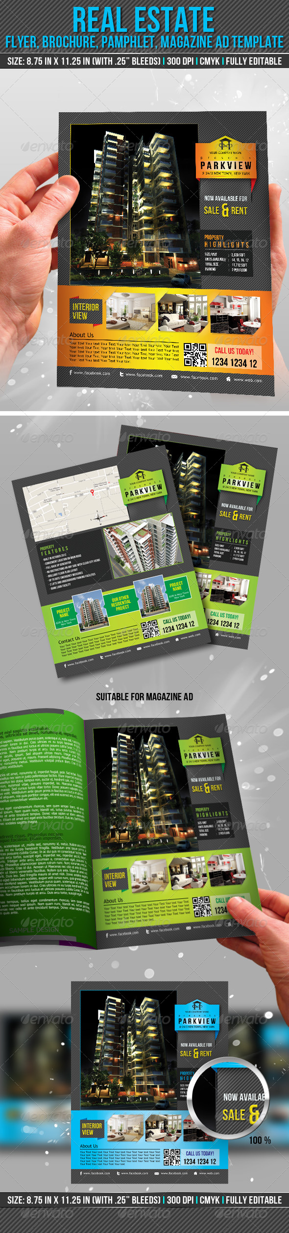 Real Estate Flyer, Brochure, Pamphlet, Magazine Ad - Print Templates