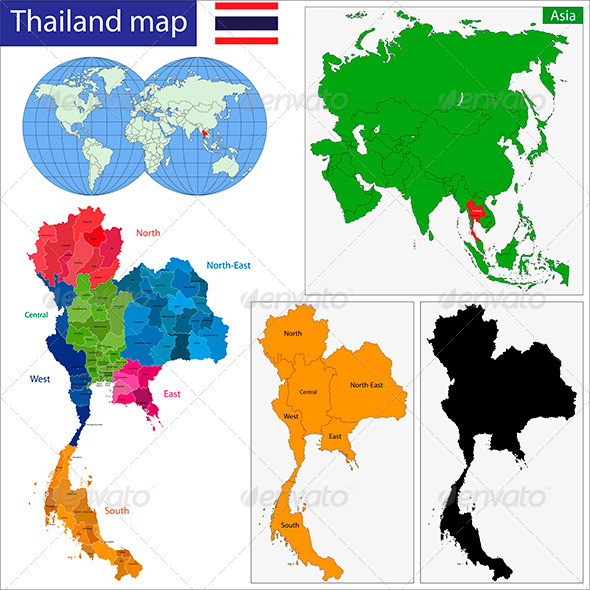 Thailand Map - Travel Conceptual