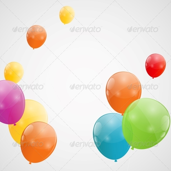 Color Glossy Balloons Background - Birthdays Seasons/Holidays