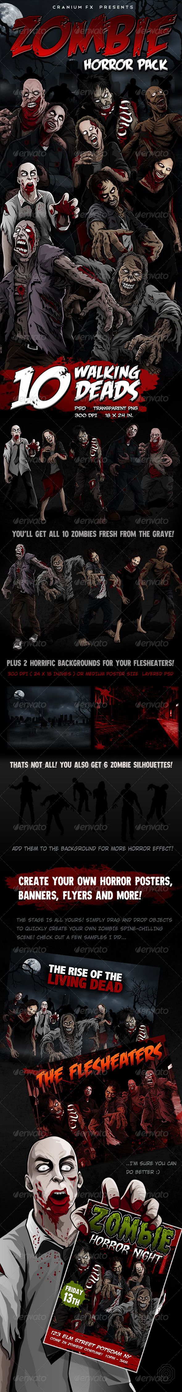 Zombie Horror Pack - Characters Illustrations