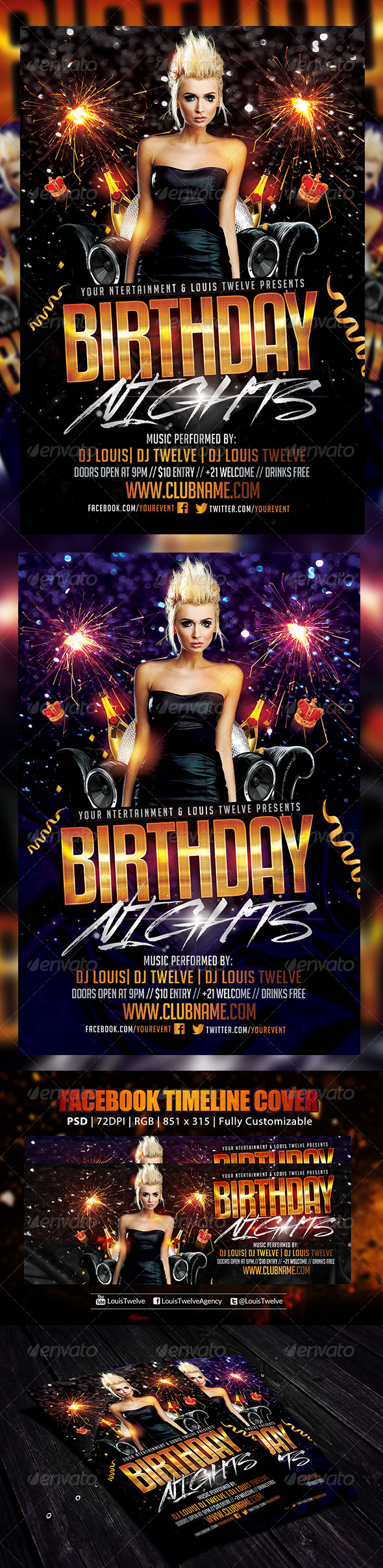 Birthday Nights | Flyer + FB Cover - Clubs & Parties Events