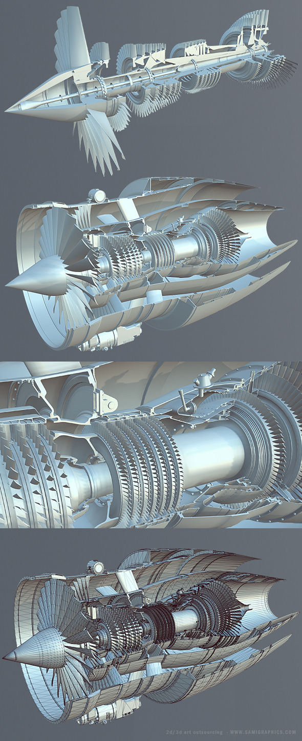 Turbofan Engine - 3DOcean Item for Sale