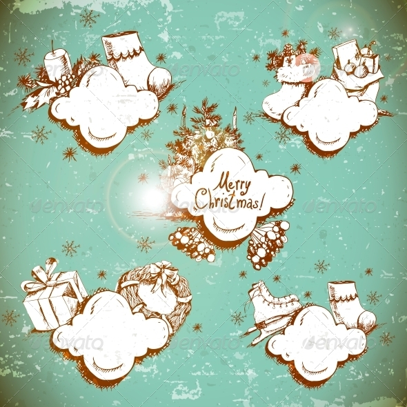 Doodle New Year and Christmas Frame  - Patterns Decorative