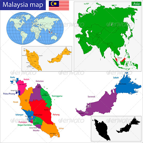 Malaysia Map By Volina GraphicRiver - Malaysia map