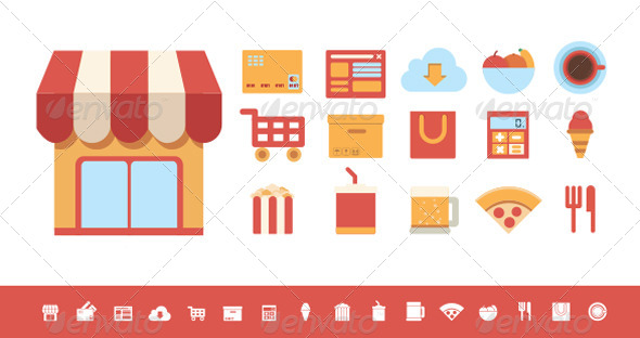 Flat Icons Food and Shopping Elements - Vectors