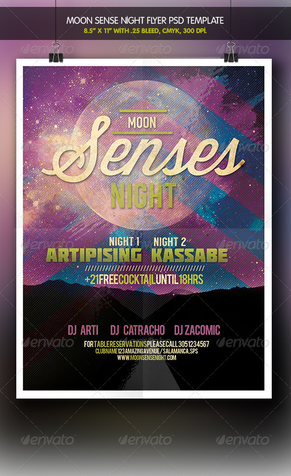 Moon Senses Party Night Flyer - Clubs & Parties Events