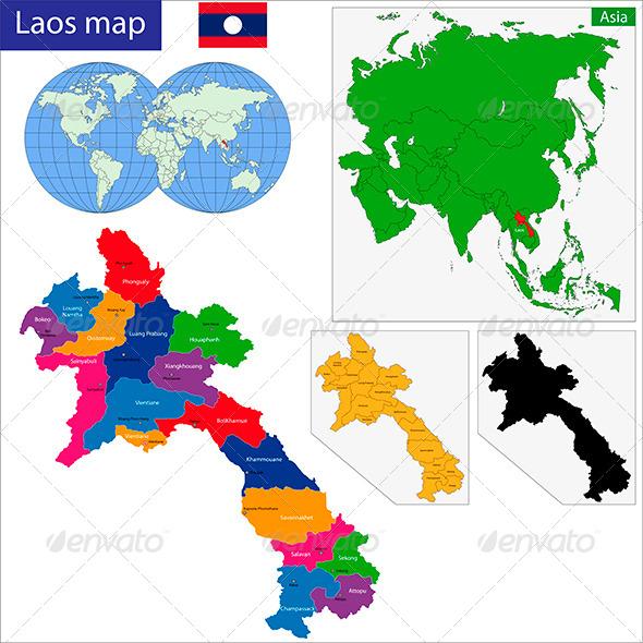 Laos Map - Travel Conceptual