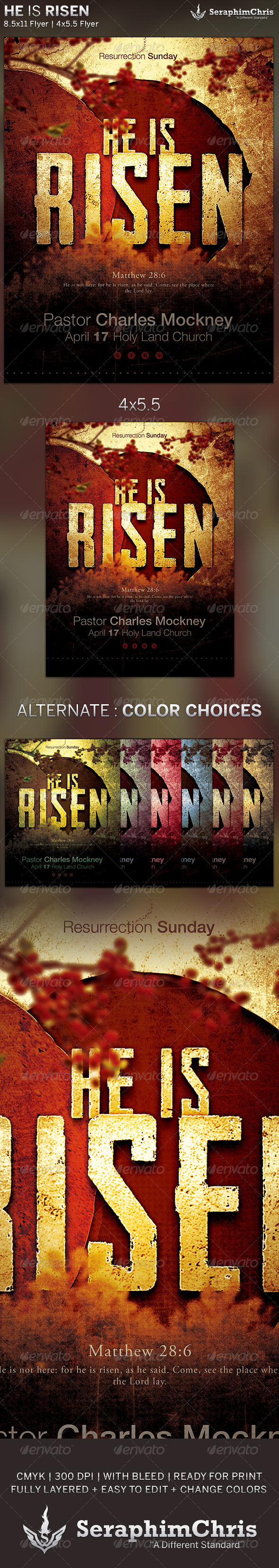 He is Risen: Church Flyer Template - Church Flyers