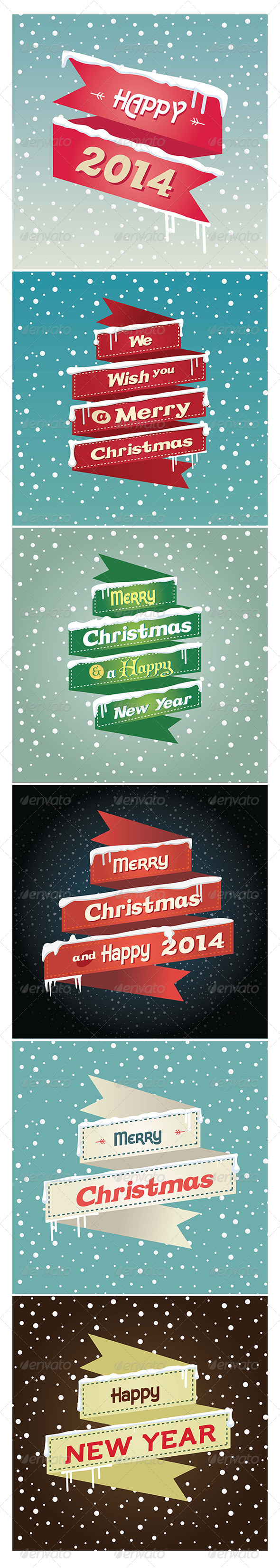 Flat Robbons Christmas and Happy New Year 2014 - Vectors