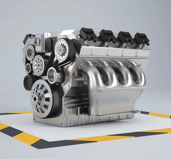 Model Car With Engine: Car Engine 8 Cylinders By E-Vision