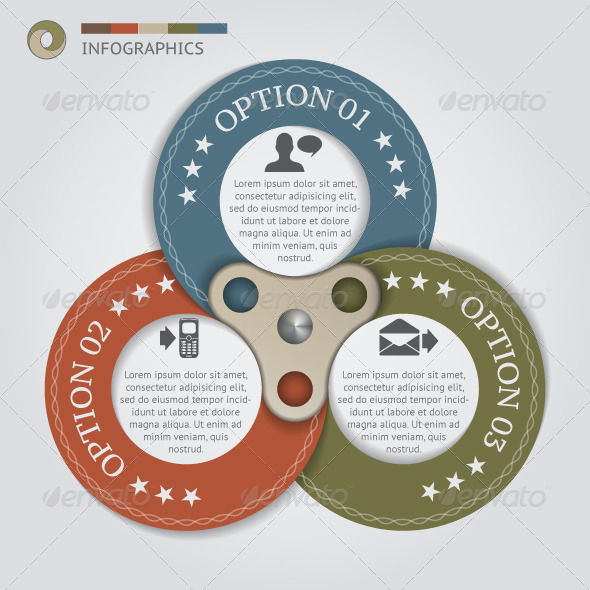 Circular Banners with 3 Options - Infographics