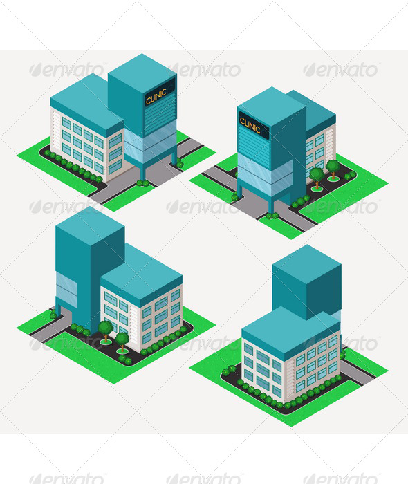 Isometric Clinic - Buildings Objects