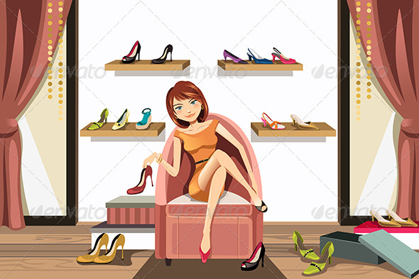 Woman Shopping for Shoes - Commercial / Shopping Conceptual