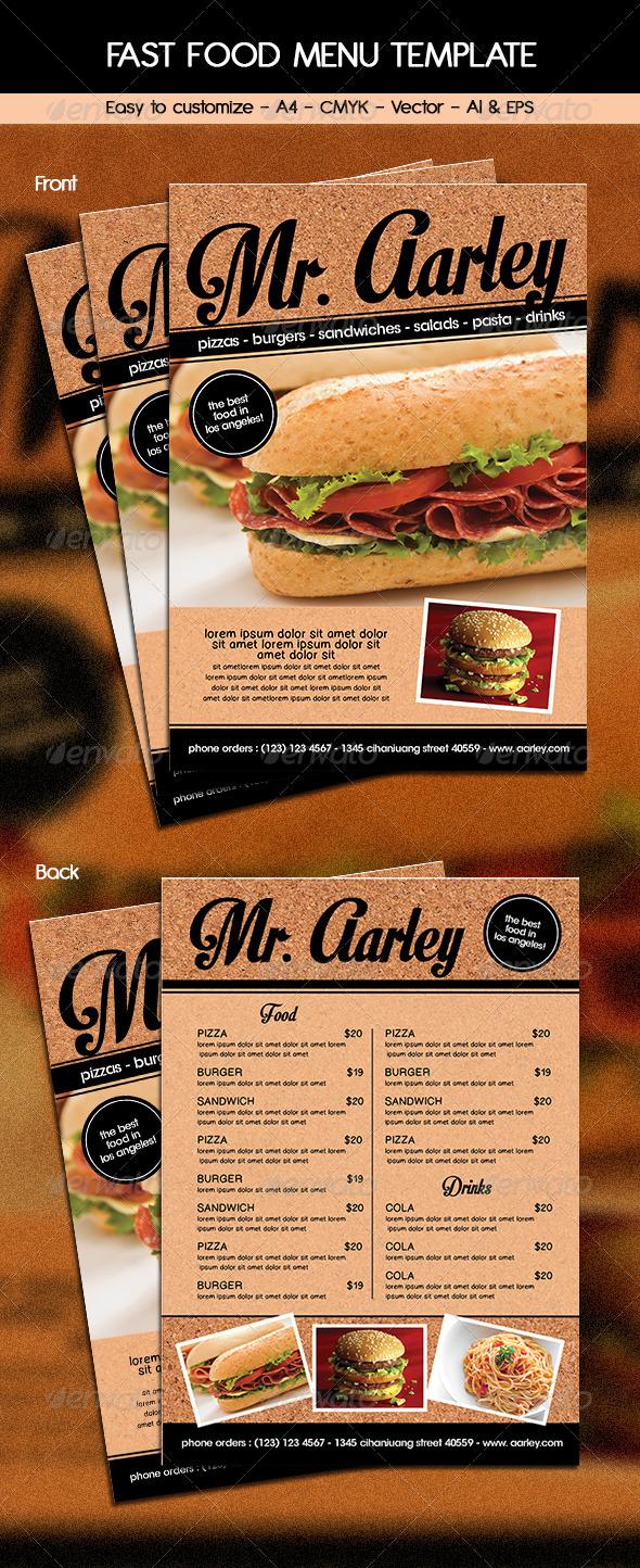 Fast Food Menu Template - Food Menus Print Templates