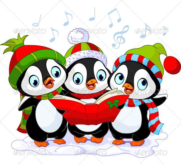 Christmas Carolers Penguins - Christmas Seasons/Holidays