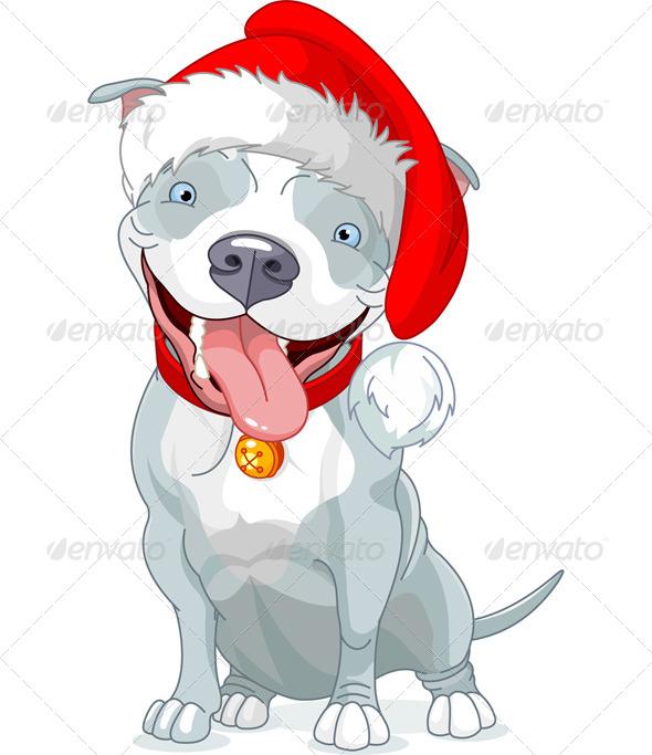 Christmas Pit Bull Dog - Animals Characters