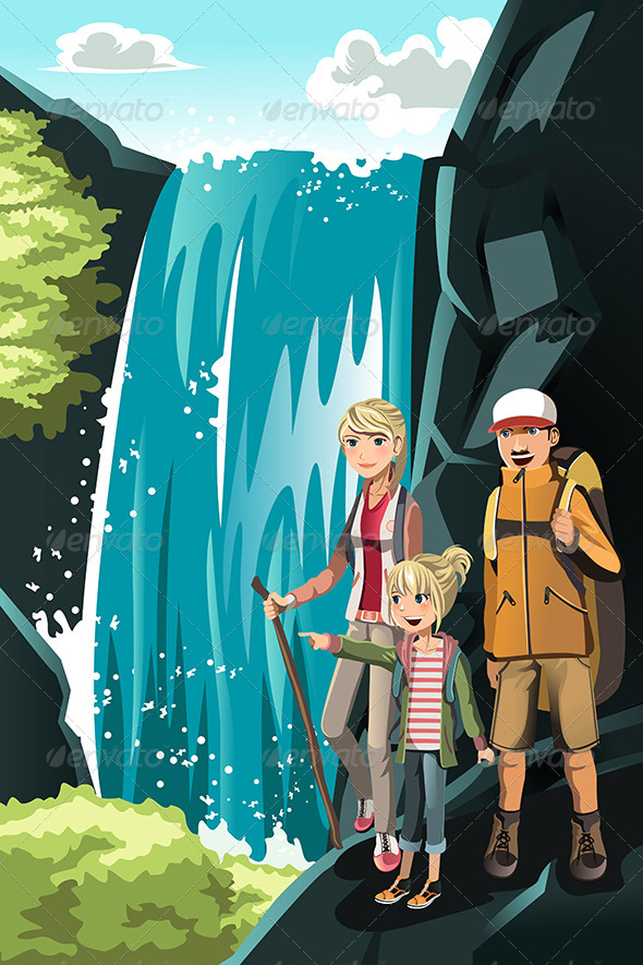 Hiking Family - Sports/Activity Conceptual