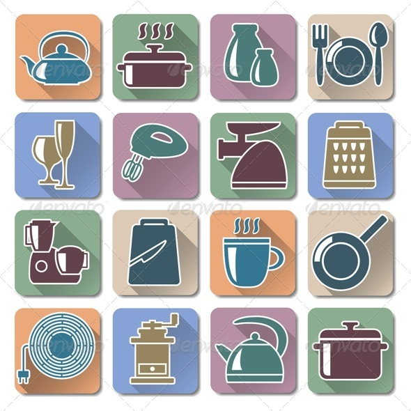 Vector Kitchenware Retro Flat Icons - Retro Technology