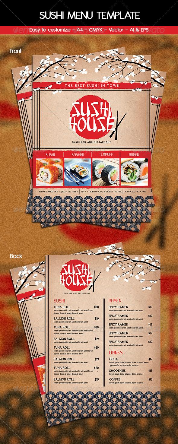Sushi Menu Template - Food Menus Print Templates