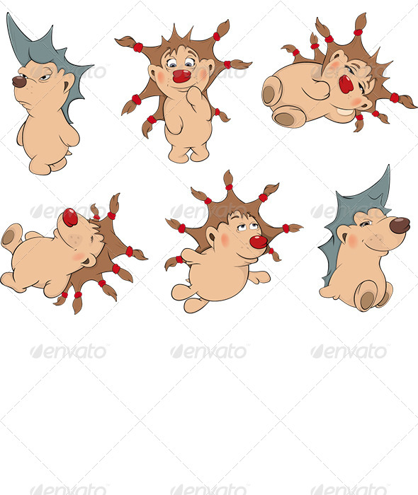 Small Hedgehogs Clip Art  - Animals Characters
