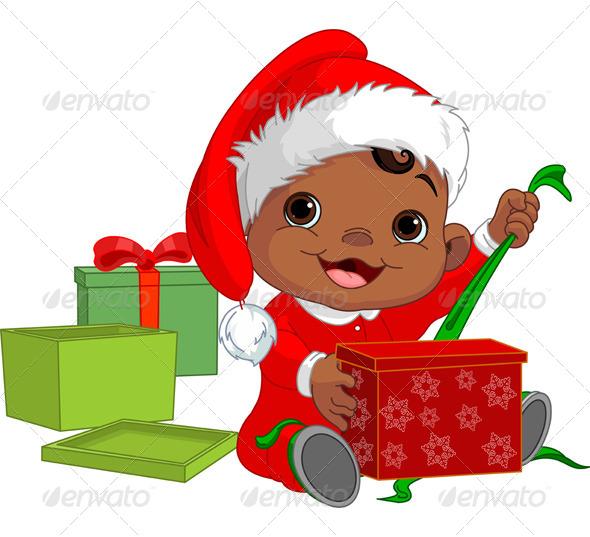 Christmas Baby Open Gift - Christmas Seasons/Holidays