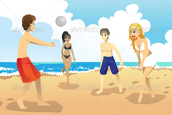 Young People Playing Volleyball - Sports/Activity Conceptual