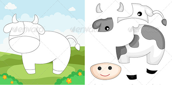 Cow Puzzle - Animals Characters