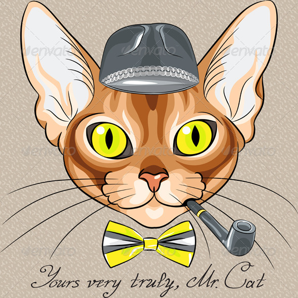Vector Cartoon Hipster Red Cat Abyssinian Breed - Animals Characters