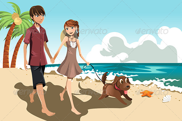 Young Couple on the Beach - People Characters