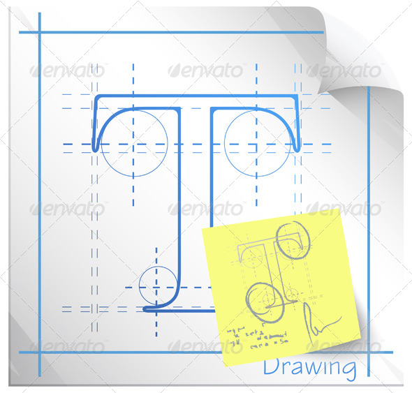 Technical Drawing Fonts with Revision Note - Technology Conceptual