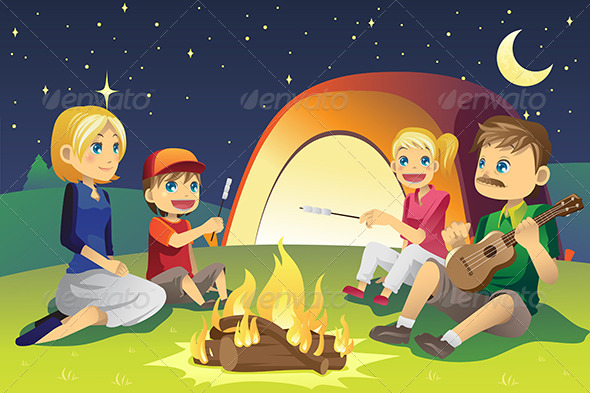 Camping Family - People Characters