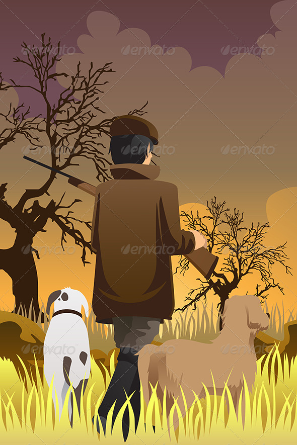 Hunter with Two Dogs - People Characters