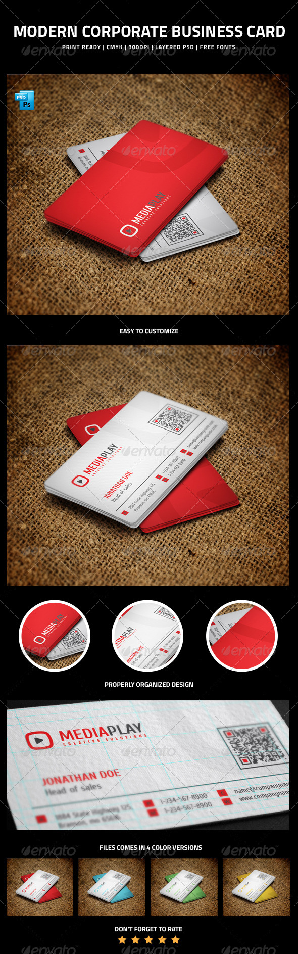 Modern Corporate Business Card  with QR code - 10 - Corporate Business Cards