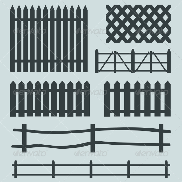 Vector Set of Rural Fences Silhouettes  - Buildings Objects